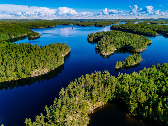 Aerial view of blue lakes and green forest