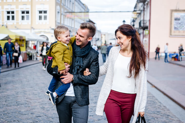Parents with son walking in the city