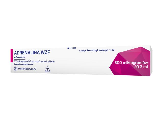 Adrenalina WZF rozt. do wstrz. 300 mcg/0,3 ml 1 ml x 1 amp.-strzykawka