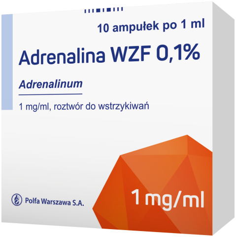 Adrenalina WZF 0,1 % rozt. do wstrz. 1 mg/ml 10 amp x 1 ml