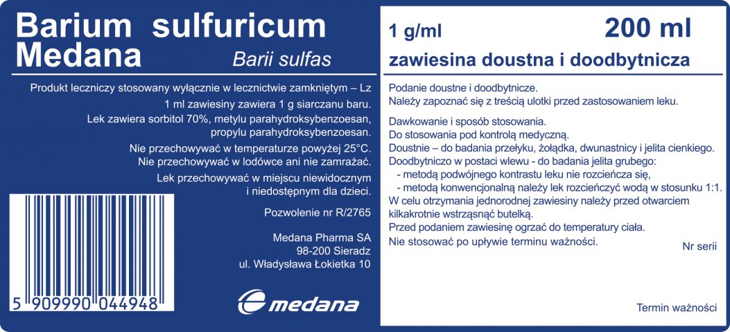 Barium Sulfuricum Medana 1g/ 1ml zawiesina doustna i doodbytnicza 200 ml
